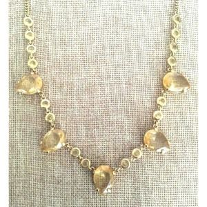 J. Crew Necklace Yellow Faceted Stones Gold Tone